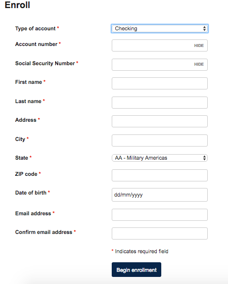 Axiom Online Banking form