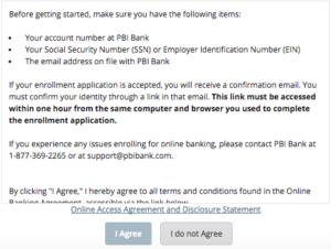 PBI online banking enrollment