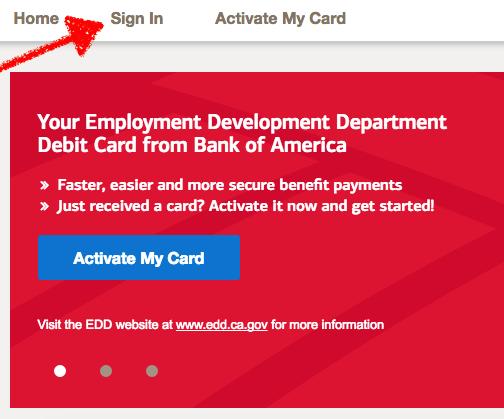 Bank of America EDD Debit Card Sign in BOFA EDD