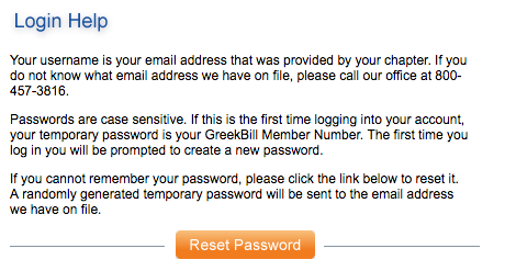greekbill login help