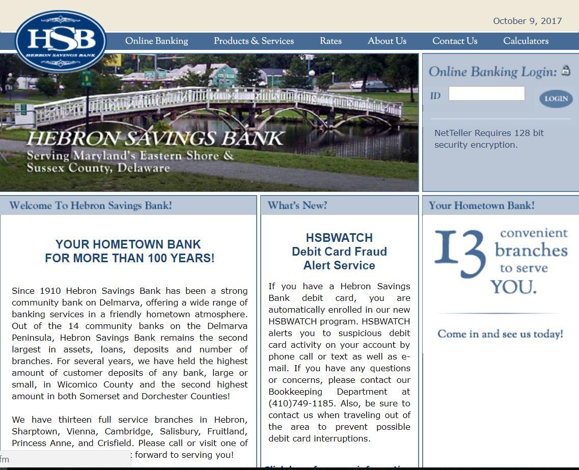 Hebron Savings bank USA Online login