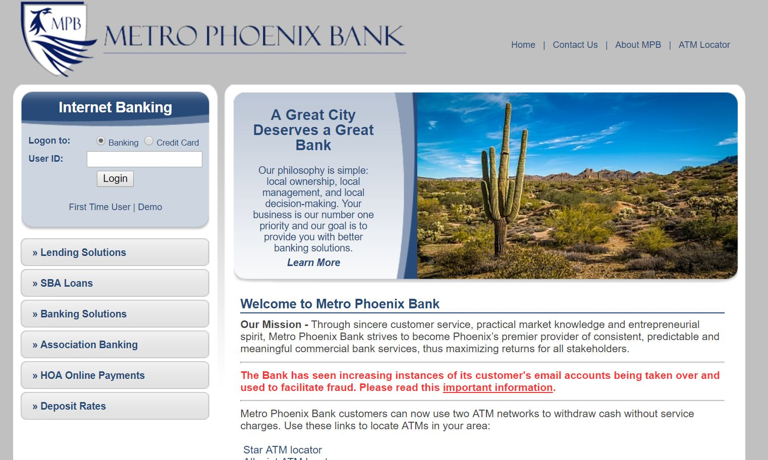 Metro Phoenix Bank Bank login online