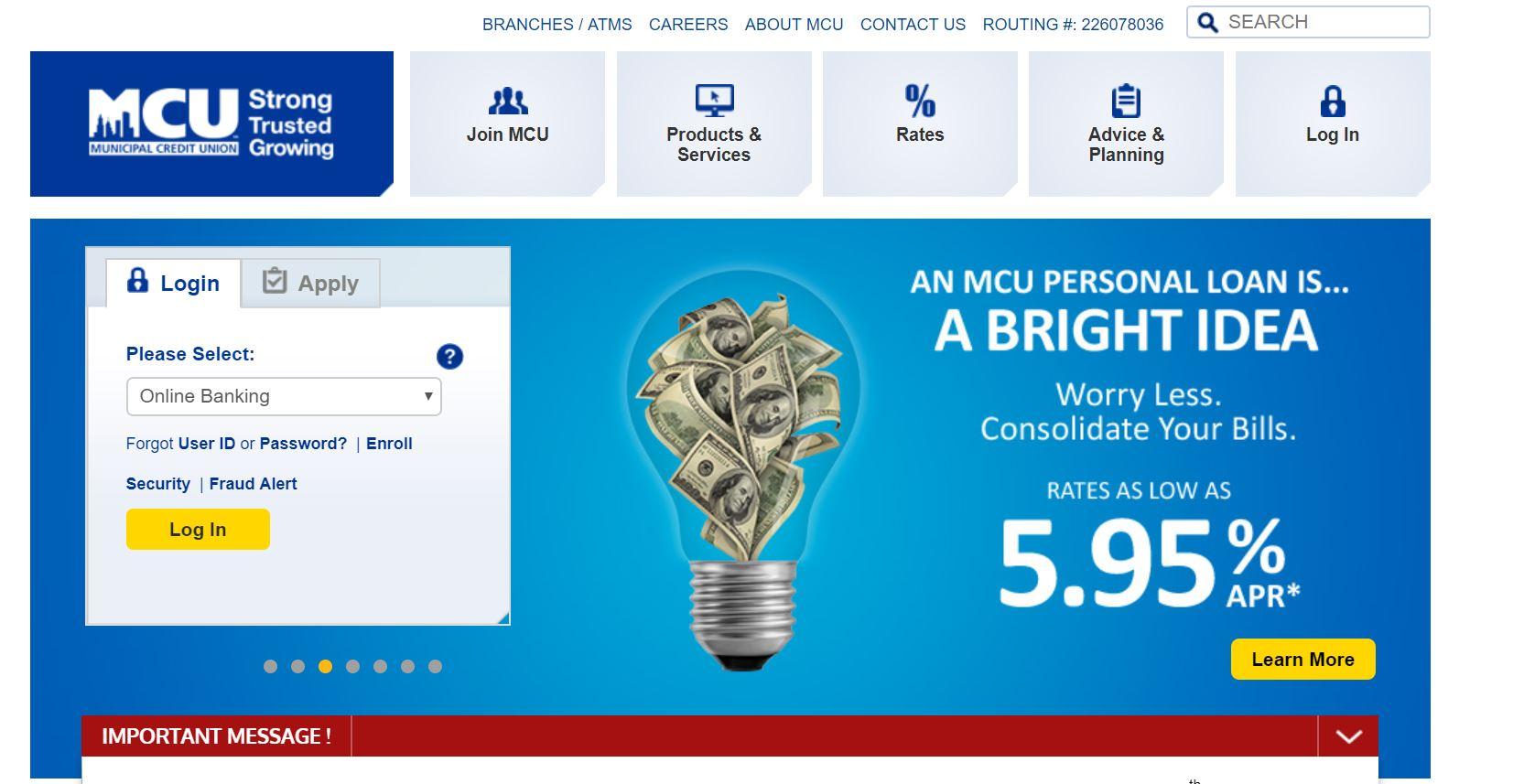 NYMCU – Municipal Credit Union online bank login