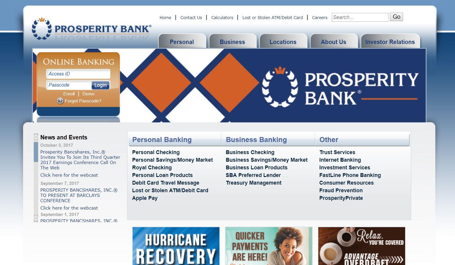 prprosperity bank online banking